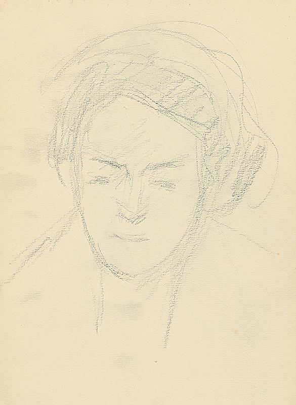 Andor Borúth - Štúdia hlavy ženy en face