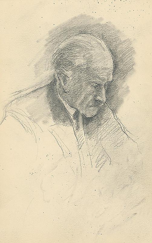 Andor Borúth - Štúdia sklonenej mužskej hlavy