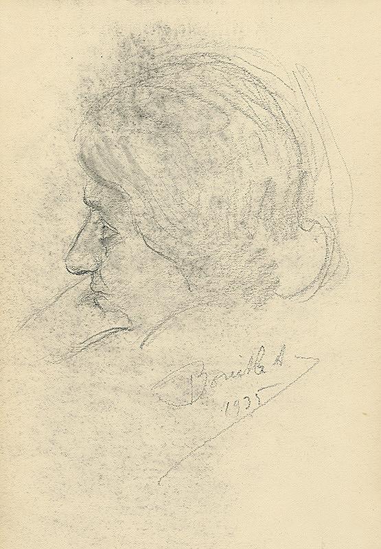 Andor Borúth - Štúdia ženskej hlavy v profile