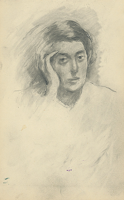 Andor Borúth – Štúdia hlavy ženy podopretej pravou rukou
