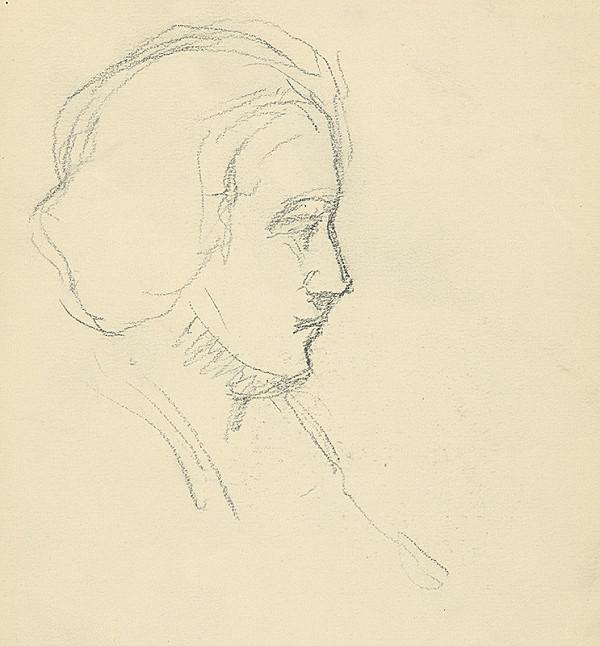 Andor Borúth - Štúdia hlavy ženy v profile