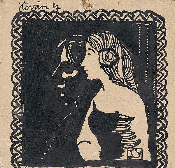 Konštantín Kövári-Kačmarik – Vlastná podobizeň s dievčaťom
