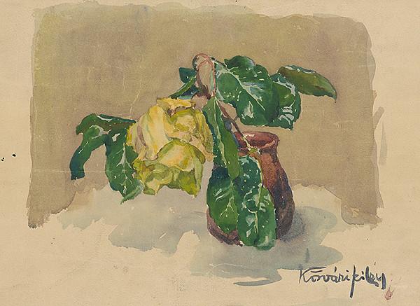 Konštantín Kövári-Kačmarik – Váza so žltou ružou