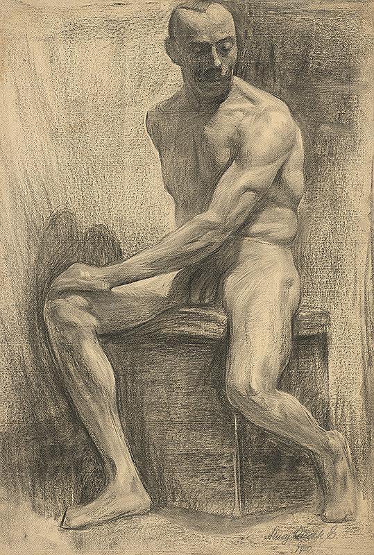 Emil Alexay-Olexák – Štúdia sediaceho mužského aktu