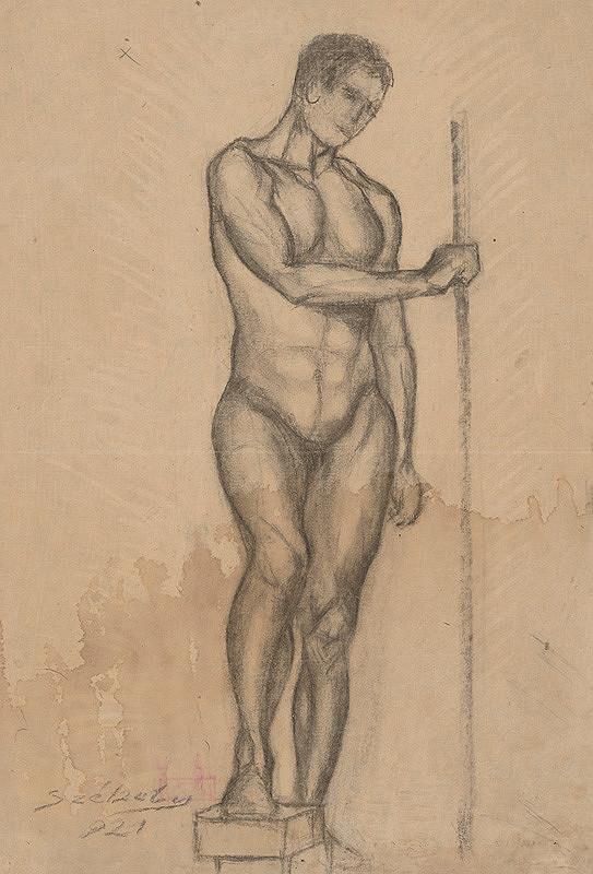 Ivan Anton Székely - Mužský akt s palicou v pravej ruke