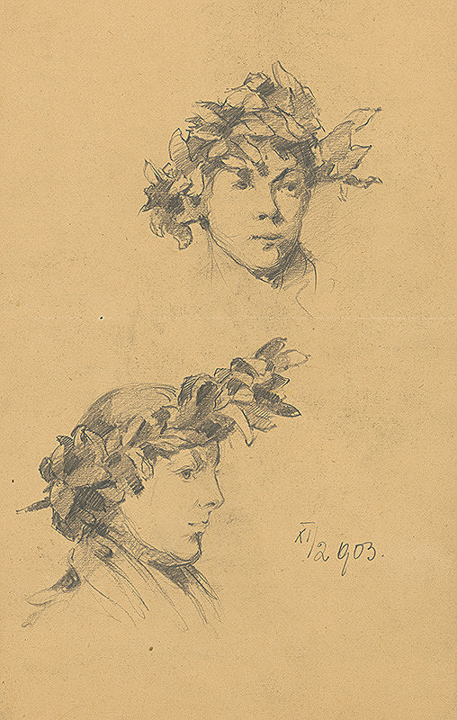 Ernest Rákosi – Štúdie ženských hláv s vavrínovým vencom