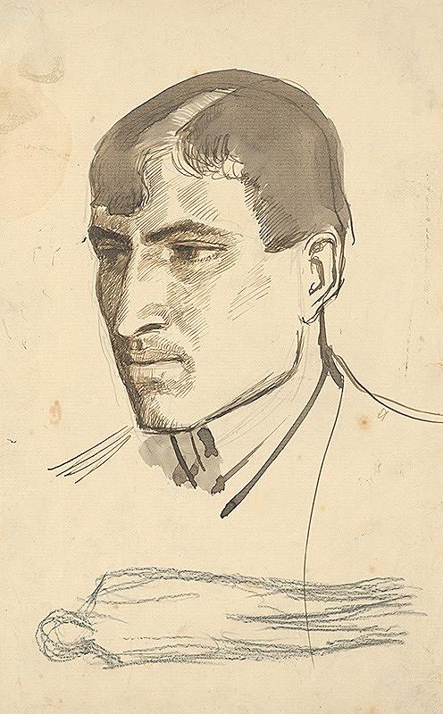 Ladislav Mednyánszky - Štúdia hlavy muža