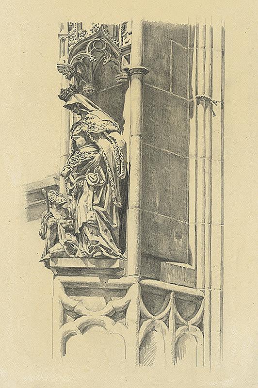 Vojtech Šipoš – Socha sv. Alžbety na južnom portáli Dómu sv. Alžbety v Košiciach