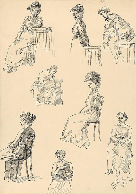 Július Török – Štúdie mužských a ženských postáv, 1900