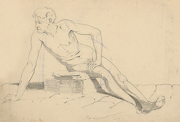 Július Török – Štúdia sediaceho mužského aktu