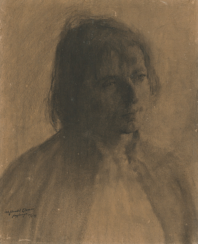 Elemír Halász-Hradil – Štúdia hlavy cigánky, 1899, Východoslovenská galéria