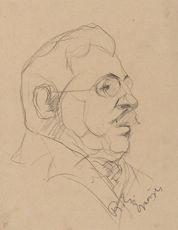 Ernest Rákosi – Skica hlavy muža s okuliarmi