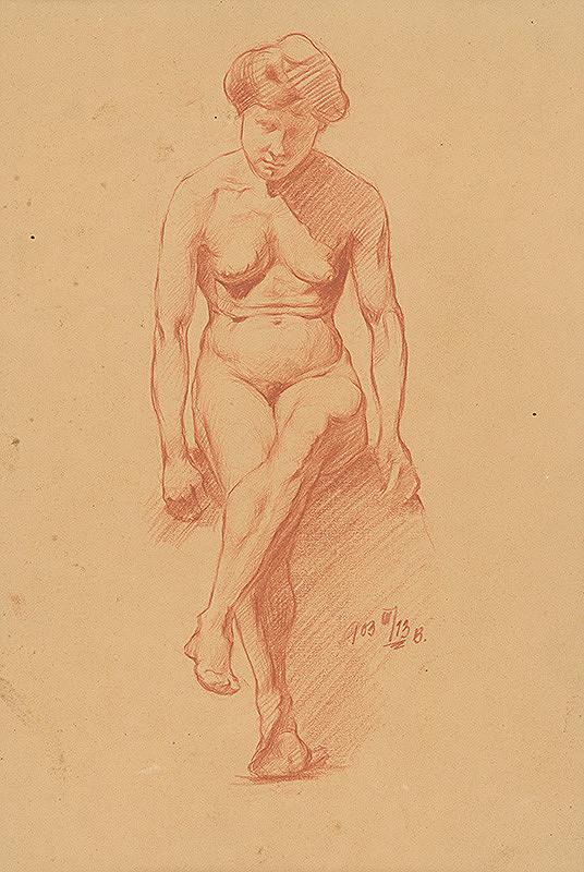 Ernest Rákosi – Štúdia sediaceho ženského aktu