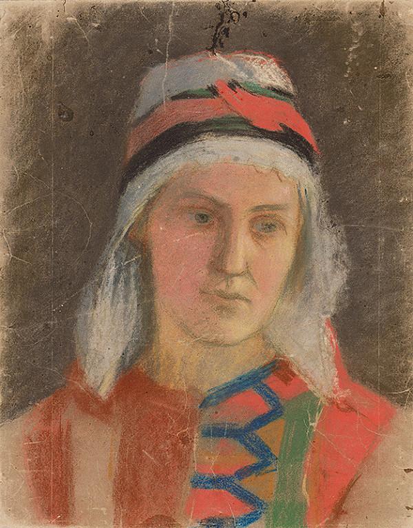 Jozef Hanula – Podobizeň ženy v kroji z okolia Troch Sliačov