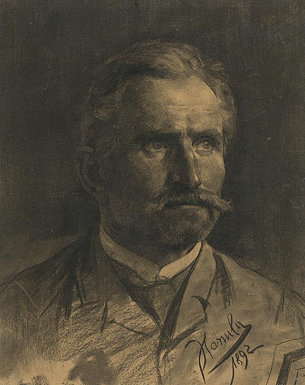Jozef Hanula - Štúdia hlavy muža s briadkou a fúzami