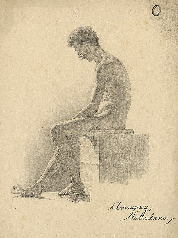 Ákos Aranyossy - Štúdia sediaceho mužského aktu