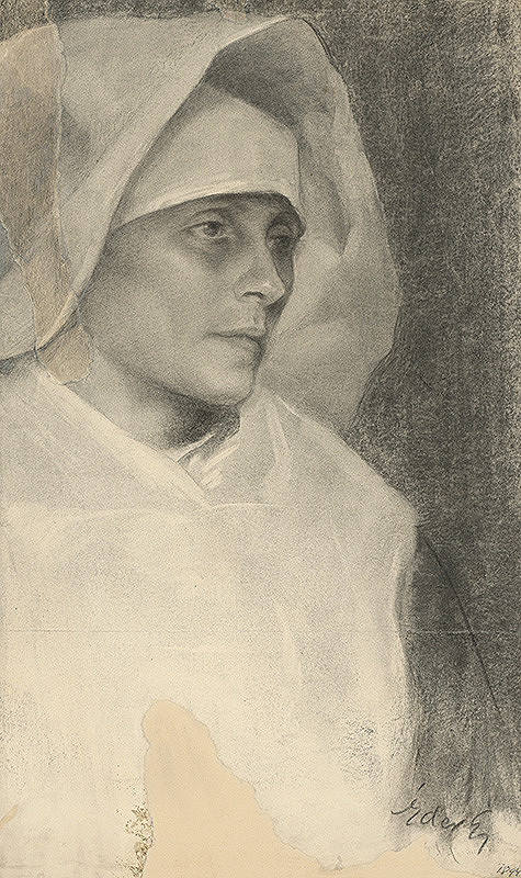 Július Éder - Štúdia k podobizni mníšky