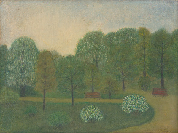 Zuzana Virághová - Park s rozkvitnutými stromami