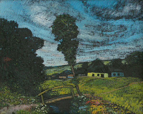 Anton Jasusch - Letná krajina s domčekmi