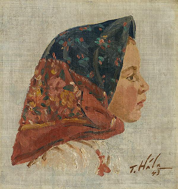 Jan Hála - Hlava dievčaťa so šatkou