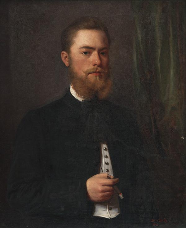 Gyula Benczúr - Podobizeň mladého muža. Študent práv Gejza Bencúr.