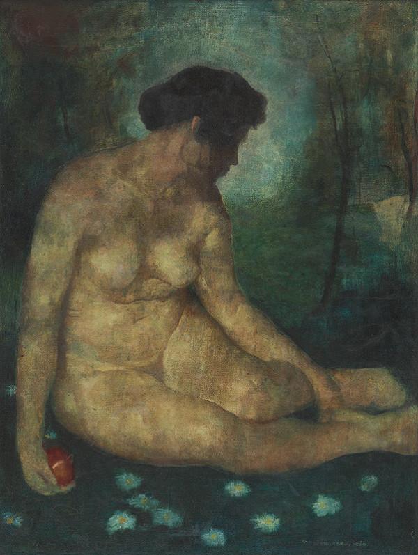 Béla Nemessányi Kontuly - Sediaci ženský akt