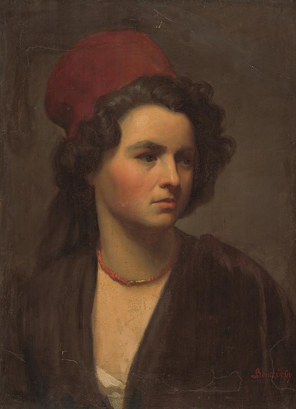 Gyula Benczúr - Podobizeň dievčaťa v červenej šatke.