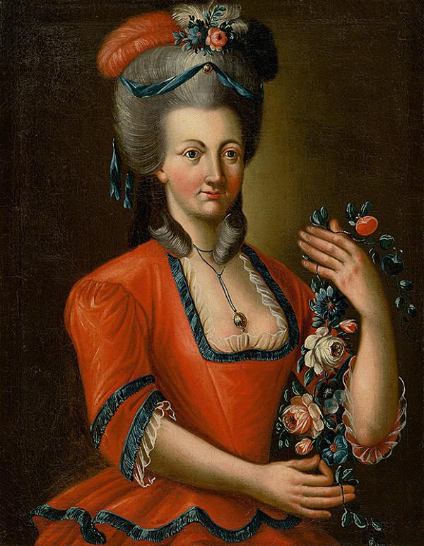 Stredoeurópsky maliar z 2. polovice 18. storočia – Podobizeň dámy s ružami
