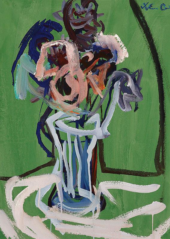 Xénia Columby-Sinayová - Kytica na zelenom pozadí