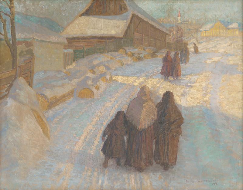 Elemír Halász-Hradil – Zima na dedine, 1909, Východoslovenská galéria