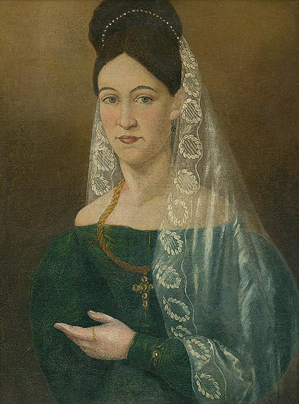 Slovenský maliar zo začiatku 20. storočia, Stredoeurópsky maliar z polovice 19. storočia – Portrét ženy v bielom závoji