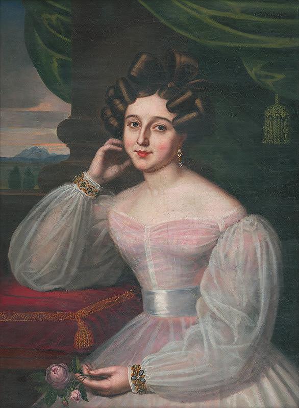 Ján Rombauer – Podobizeň dámy mladej v ružovkastých šatách s ružou