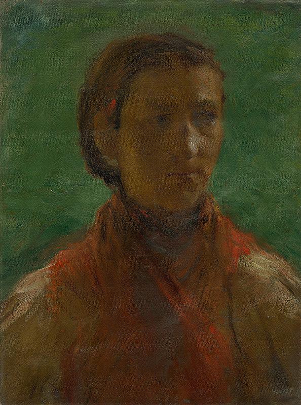 Elemír Halász-Hradil - Dievča v červených šatách