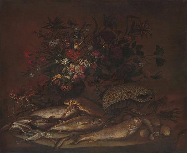 Stredoeurópsky maliar z 2. polovice 19. storočia - Zátišie s kvetmi a rybami
