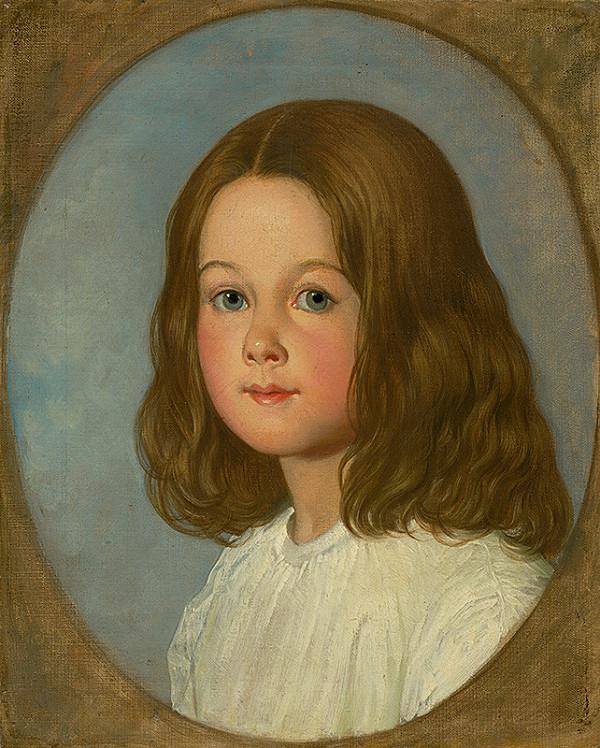 Stredoeurópsky maliar z 1. polovice 19. storočia - Podobizeň dievčata s dlhými vlasami