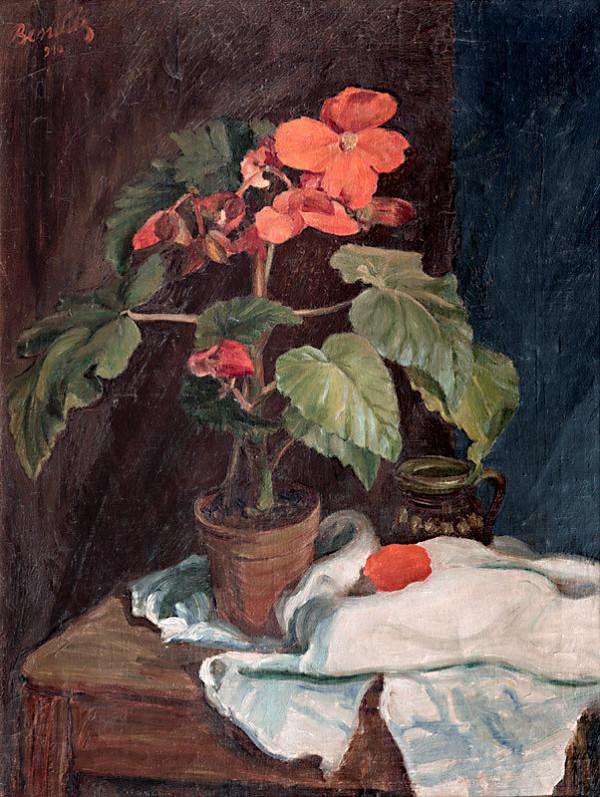 Jozef Bendík - Zátišie s červenými kvetmi