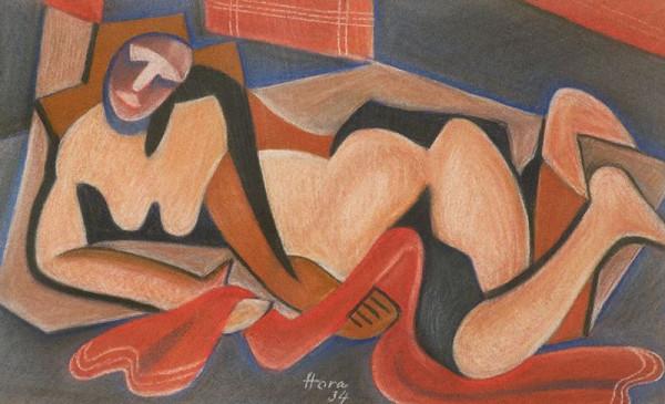 František Hora - Ležící žena s červenou šálou