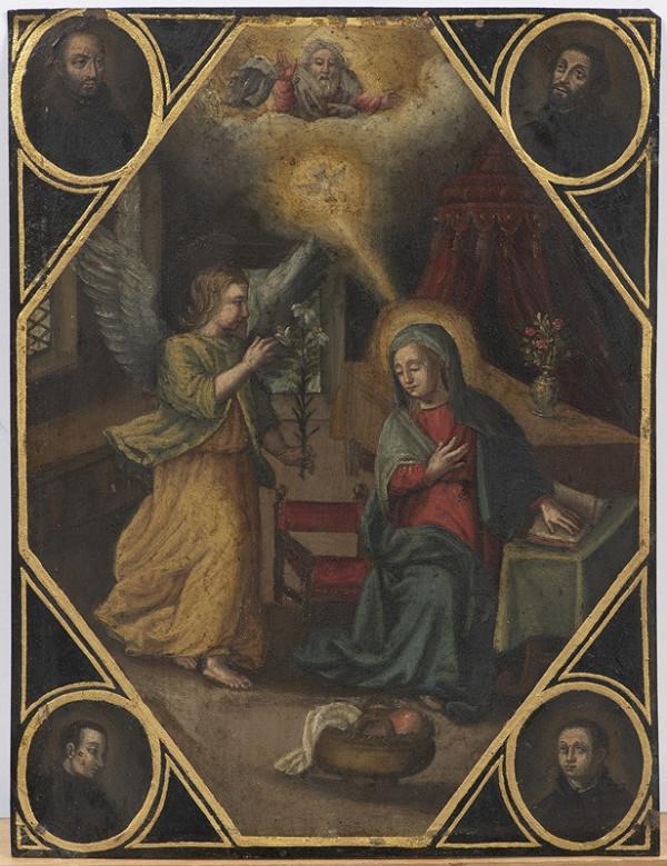 Neznámý český(?) autor – Zvěstování P. Marie s medailony čtyř světců