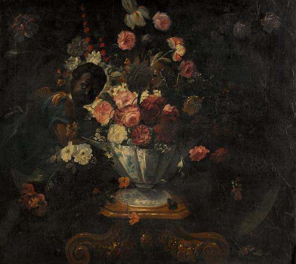 neznámý malíř italský - Zátiší s kyticí a černouškem
