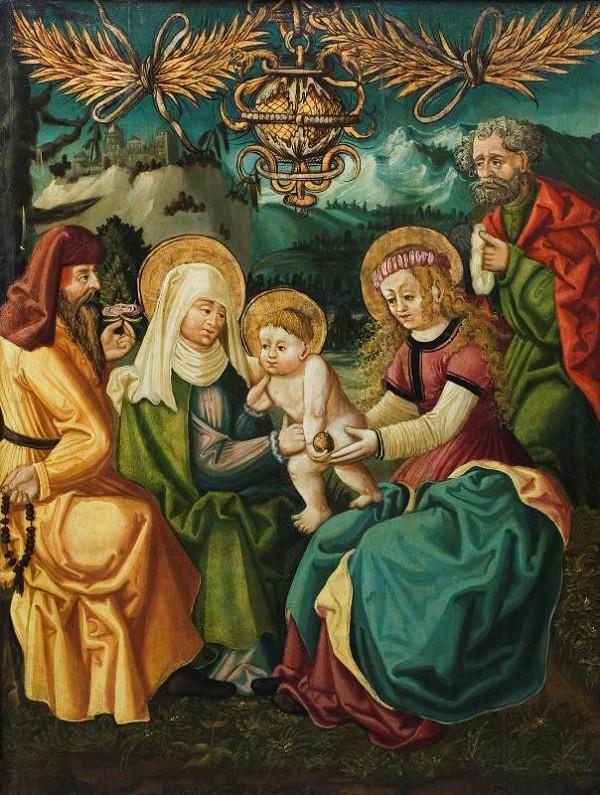 neznámý malíř podunajský – Sv. Kunhuta a císař Jindřich, revers sv. Příbuzenstvo
