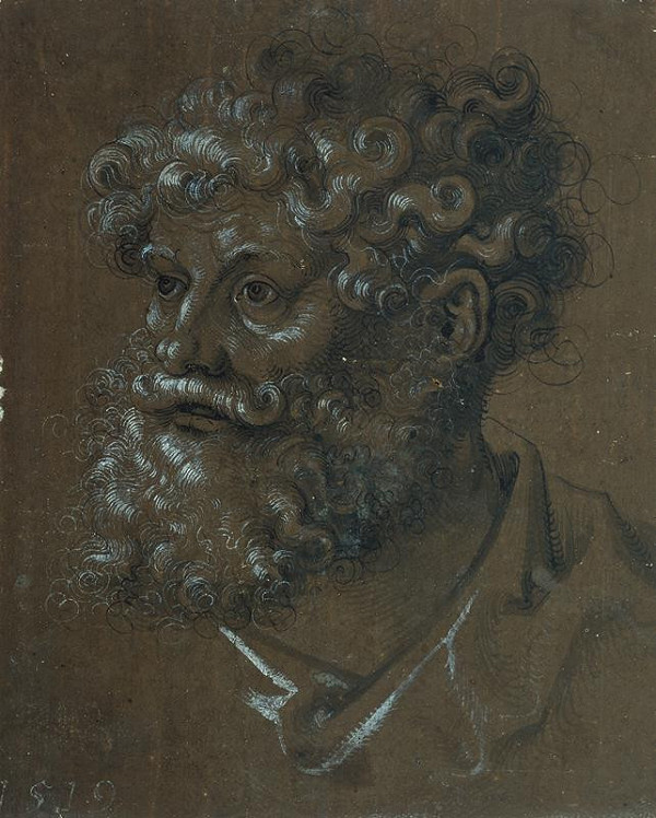 Hans Baldung Grien – Hlava muže s kudrnatými vlasy a vousy
