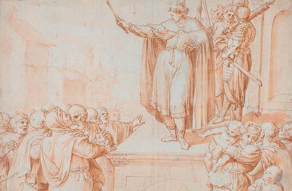 Francesco de Rossi zv. Salviati - podle - Furius Camillus promlouvá k davu plebejů