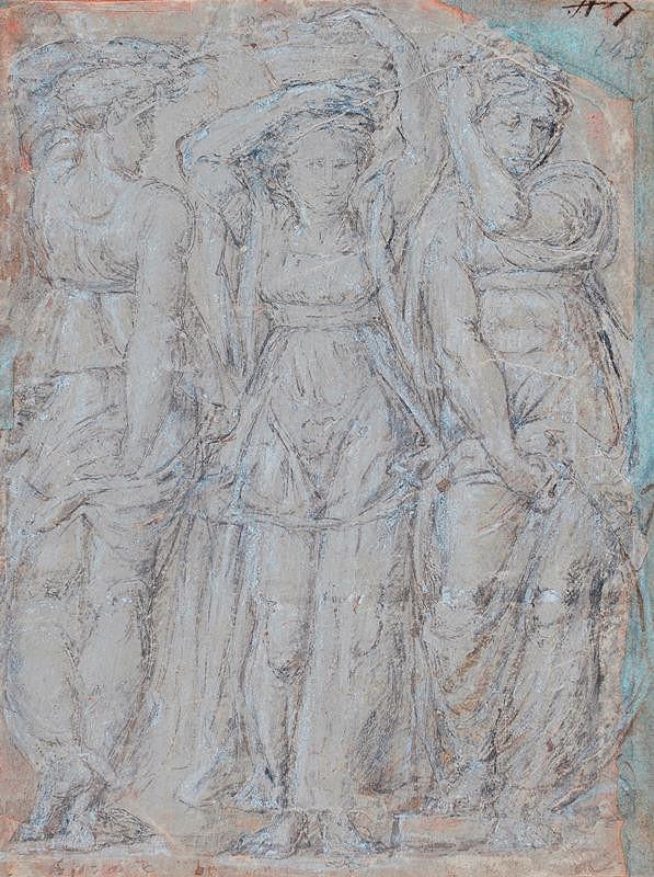 neznámý malíř - Tři ženy s košíkem