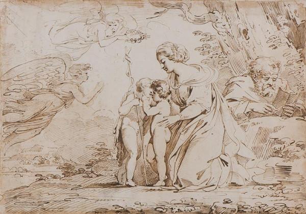 neznámý malíř italský - Sv. rodina se sv. Janem Křtitelem