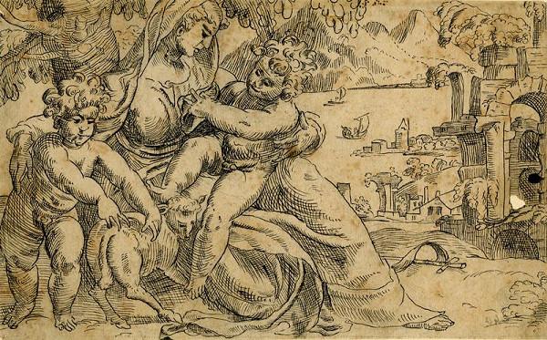 Paolo Farinato (Farinati) - podle – Madona s Ježíškem a sv. Janem Křtitelem