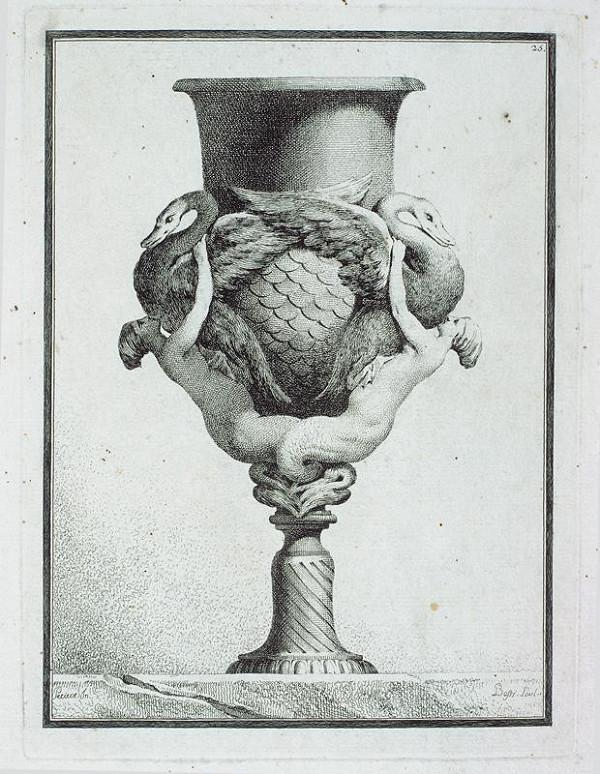 Benigno Bossi - (karyatidami) Váza s labutěmi