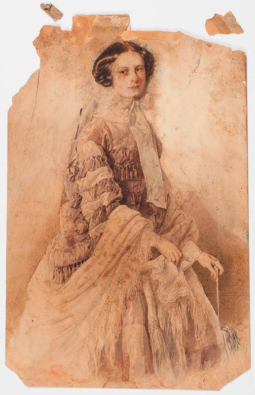 Josef Kriehuber - Alžběta princezna z Liechtensteinu, později provdaná kněžna ze Salm-Reifferscheidtu