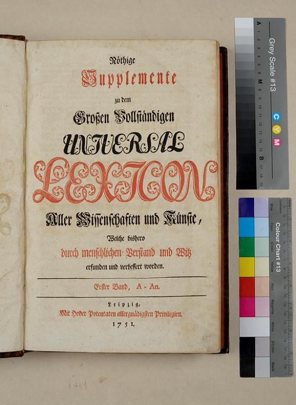neurčený autor – Nöthige Supplemente zu dem Großen Vollständigen Universal Lexikon. Erster Band
