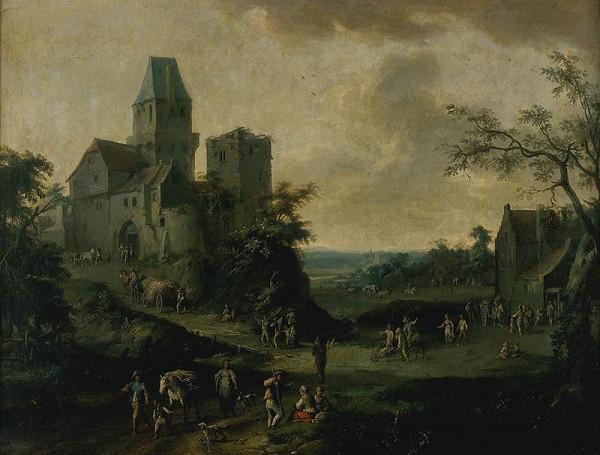 Franz de Paula Ferg – Krajina s hradem a figurální stafáží