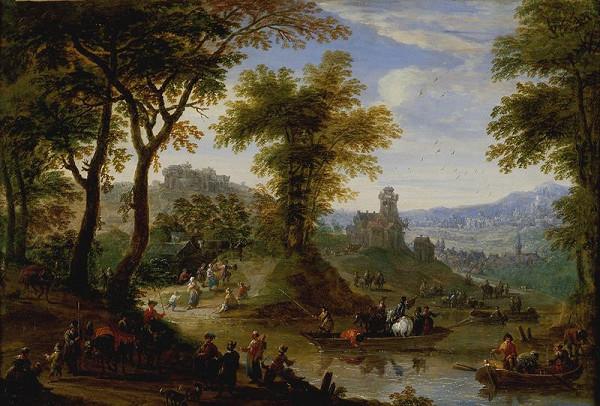 Franz de Paula Ferg – Krajina s převozem (Plavení koní)
